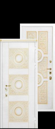 """Стальная дверь""""Круг"""" Белый с золотой патиной/Белый с золотой патиной"""
