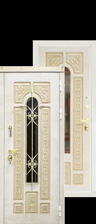 """Стальная дверь""""Лацио"""" Слоновая кость патина+лак/Слоновая кость  патина+лак"""