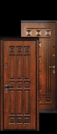"""Стальная дверь """"Спарта"""" Дуб золотистый+ патина черная"""