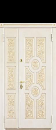 Двухпольная Стальная дверь «Версаче»Белый с золотой патиной