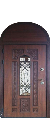 """Стальная дверь """"Русь"""" с арочной фрамугой и зеркальным стеклом"""